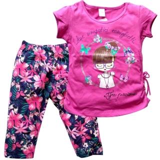 Темно-розовый комплект футболка и капри
