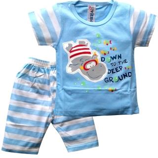 Голубая пижама с бегемотиком